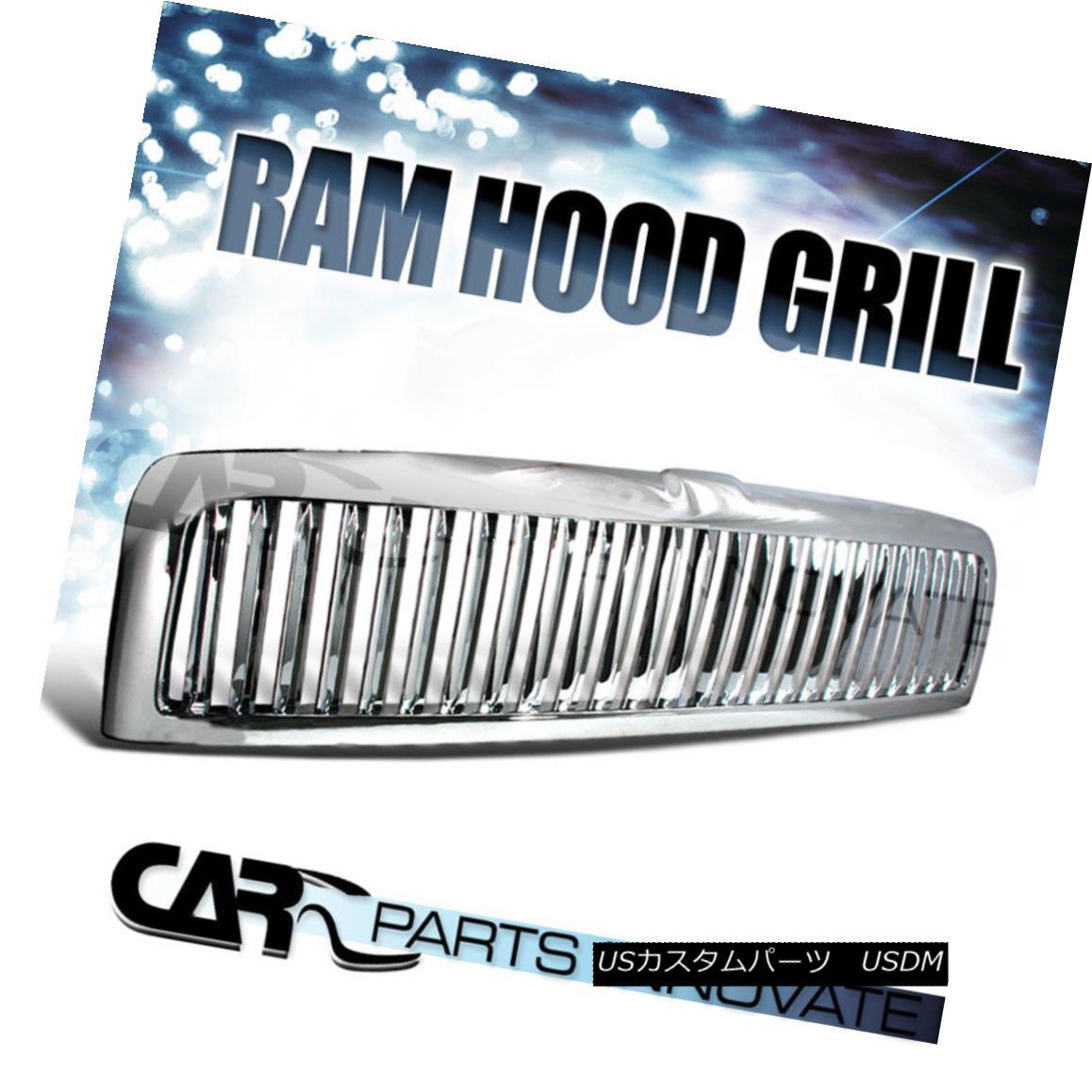 グリル 94-01 Ram 1500 94-02 Ram 2500 3500 Pickup Vertical Chrome Front Hood Grille 94-01 Ram 1500 94-02 Ram 2500 3500ピックアップ垂直クロムフロントフードグリル