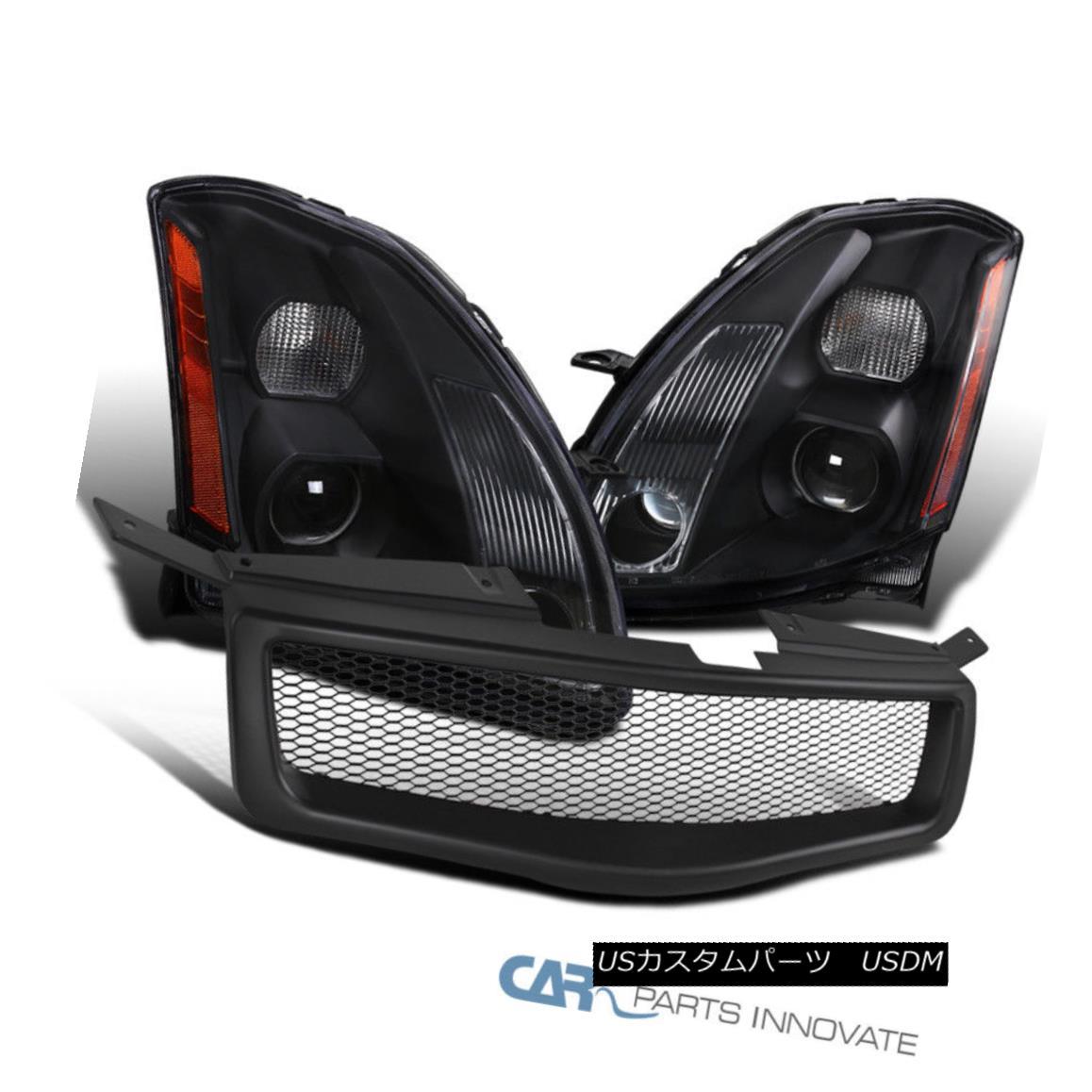 グリル For 04-06 Nissan Maxima Black Projector Headlights Lamps+Black Front Hood Grille 04-06日産マキシマブラックプロジェクターヘッドライトランプ+ブラックフロントフードグリル