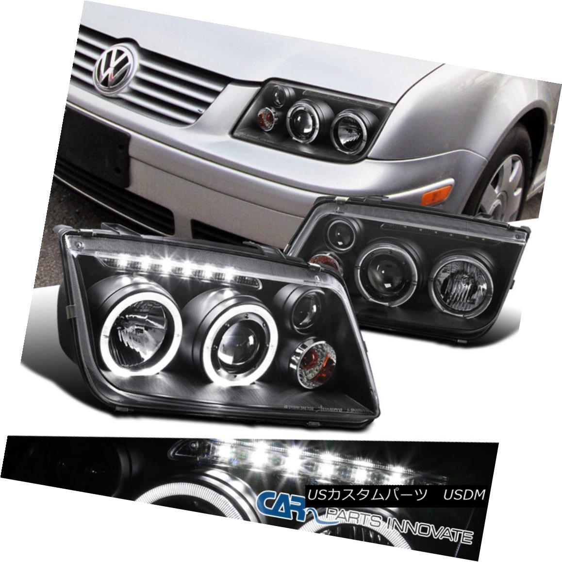 グリル Fit 99-05 Jetta Bora Mk4 LED Halo Projector Headlights Lamps Black w/ Fog DRL フィット99-05ジェッタボラMk4 LEDハロープロジェクターヘッドライトランプブラック/フォグDRL