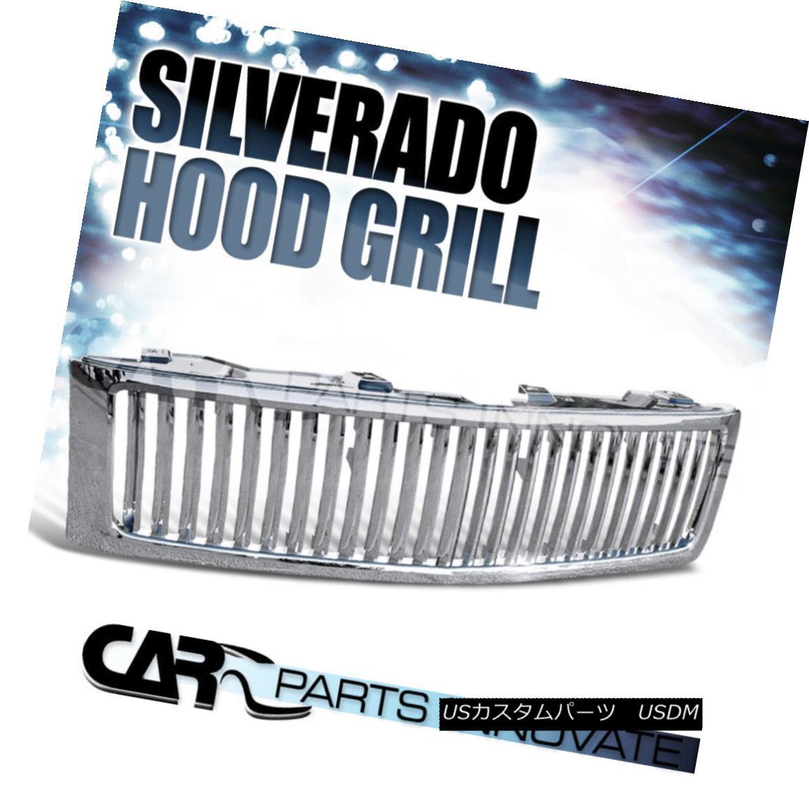 グリル Chevy 07-13 Silverado 1500 Pickup Vertical Chrome Front Bumper Hood Grille Chevy 07-13 Silverado 1500 Pickup垂直クロムフロントバンパーフードグリル