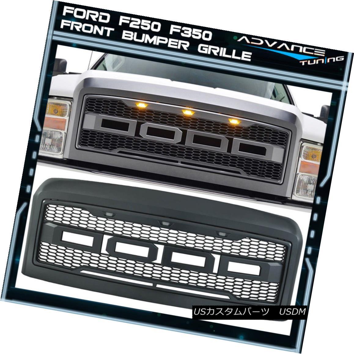 グリル For 08-10 Ford F250 F350 New Raptor Style Front Bumper Grille Hood Package ABS 08-10 Ford F250 F350新ラプタースタイルフロントバンパーグリルフードパッケージABS