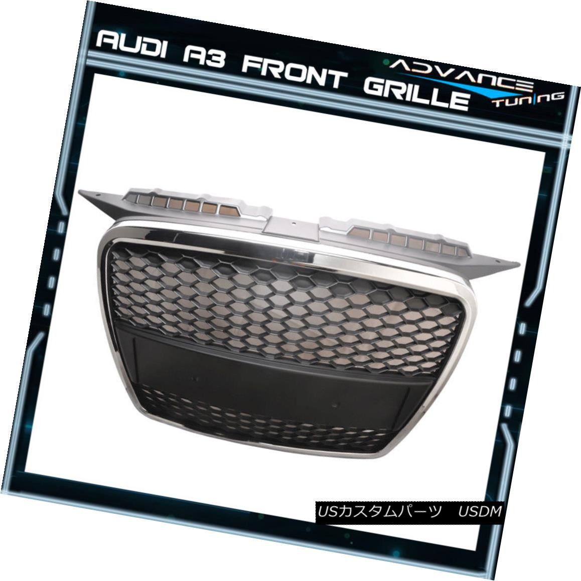 グリル Fits 06-08 Audi A3 ABS Front Mesh Hood Grille Grill Chrome New Grille06 フィット06-08アウディA3 ABSフロントメッシュフードグリルグリルクロムニューグリル06