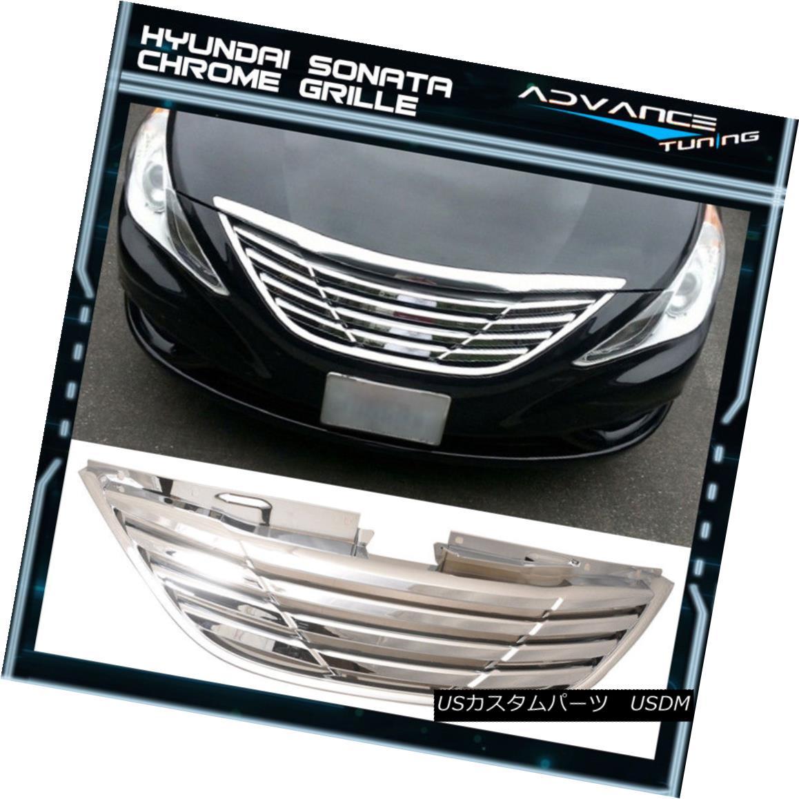 グリル Fit For 11-14 Hyundai Sonata Front Grille Grill Chrome - ABS 11-14現代ソナタフロントグリルグリルクローム - ABS用