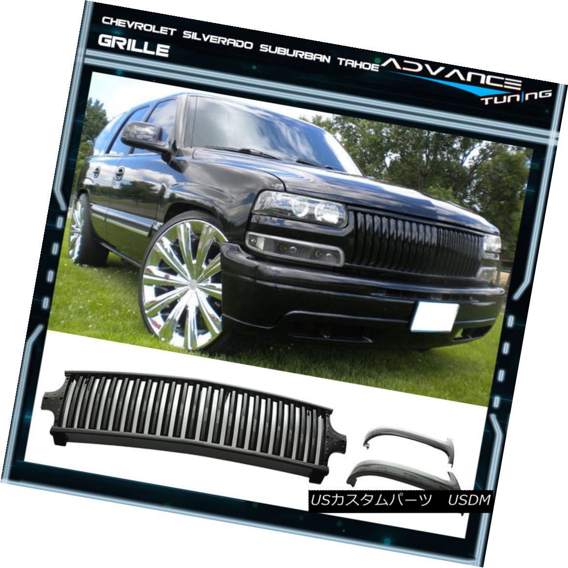 グリル Fit For 99-02 Silverado 00-06 Suburban Tahoe Vertical Style Grille - Black フィット99-02 Silverado 00-06郊外のタホ垂直スタイルのグリル - ブラック