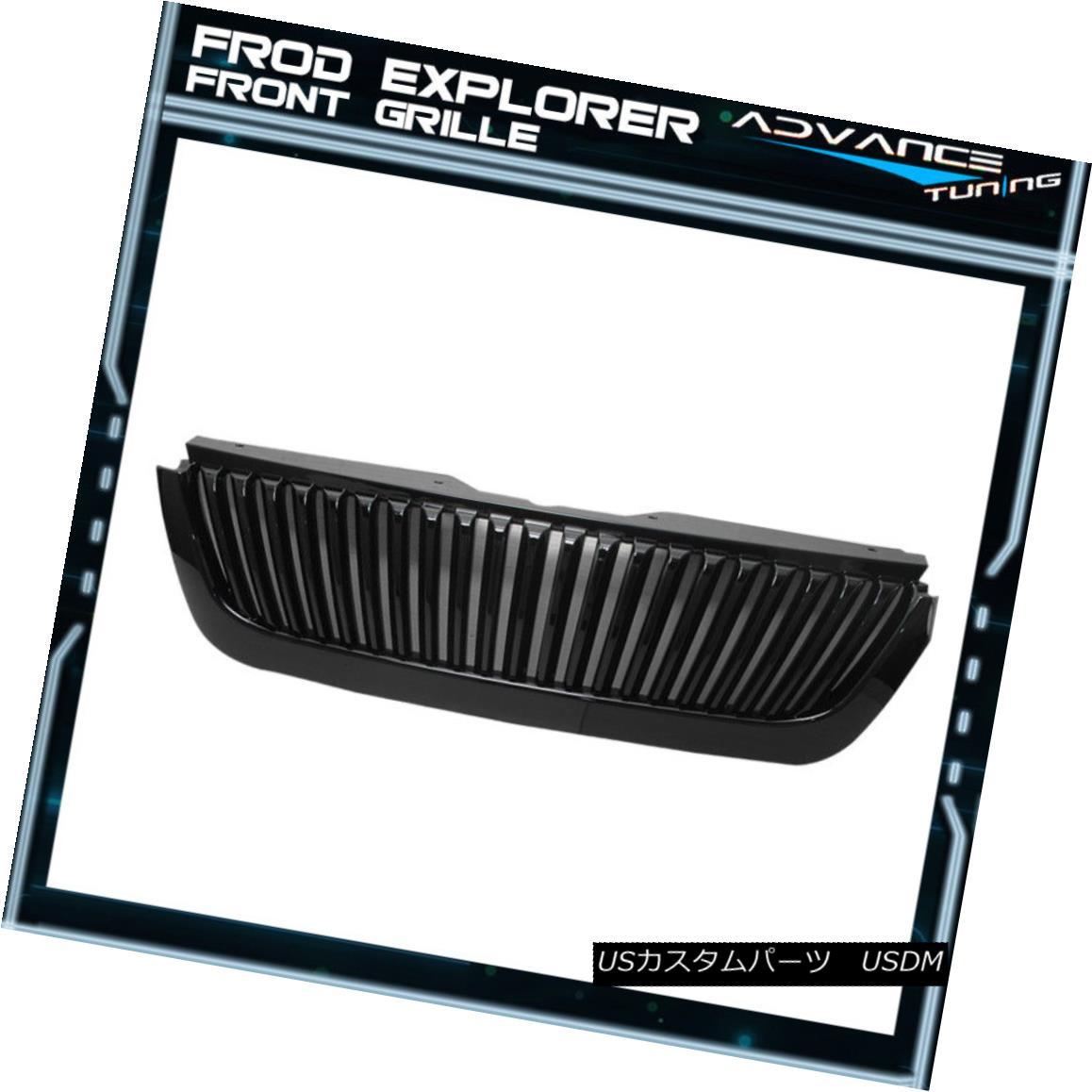 グリル Fits 02-05 Ford Explorer 4Dr Sedan Front Hood Grille Glossy Black フィット02-05 Ford Explorer 4Drセダンフロントフードグリルグロッシーブラック