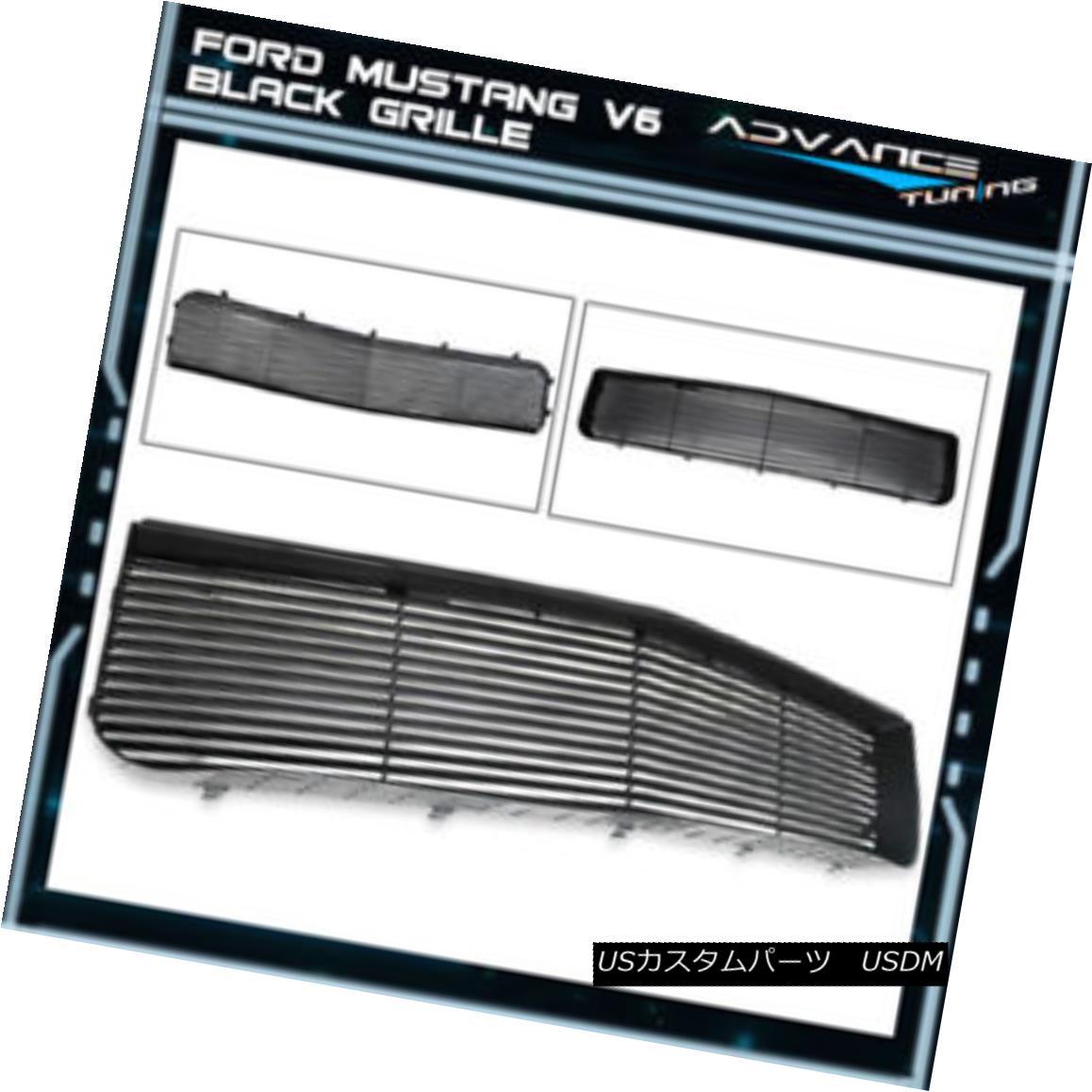 グリル Fits 05-09 Ford Mustang V6 Hood Grille Grill 1Pc Black Brand New フィット05-09フォードマスタングV6フードグリルグリル1Pcブラックブランドニュー
