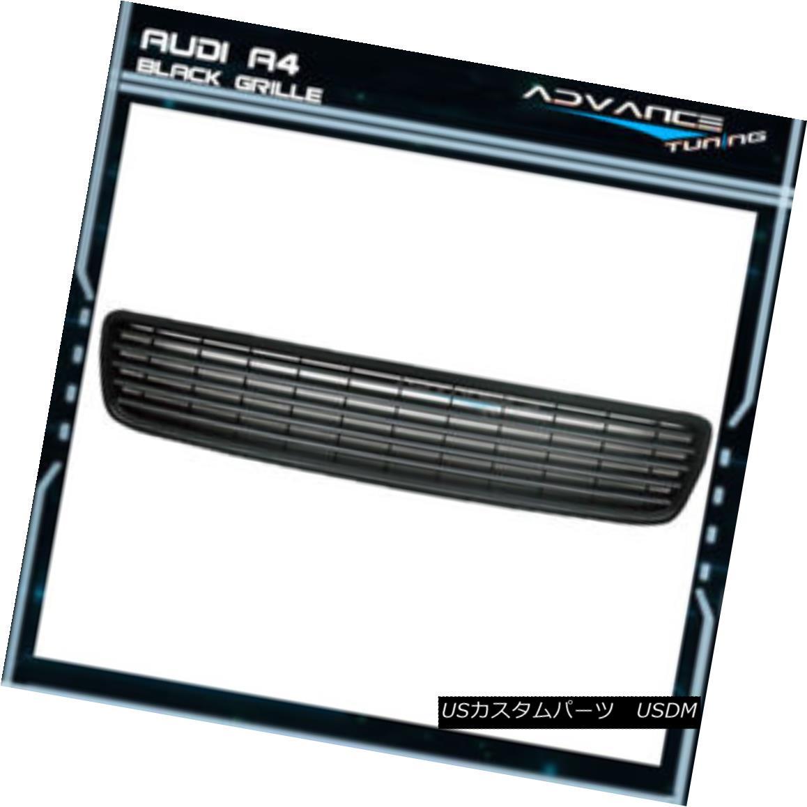 グリル Fits 96-01 Audi A4 Sport Black Front Upper Grille Grill Type A フィット96-01アウディA4スポーツブラックフロントアッパーグリルグリルタイプA