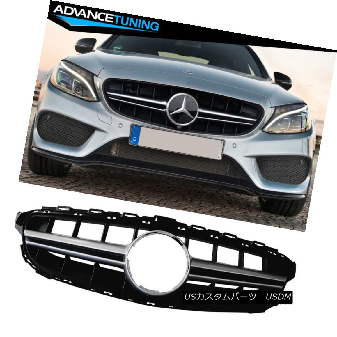 グリル Fits 15-18 Mercedes C Class W205 E63S Vertical AMG Style Silver Grille Grill フィット15-18メルセデスCクラスW205 E63S縦型AMGスタイルシルバーグリルグリル