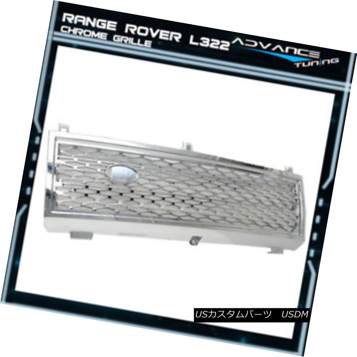 グリル Fits 03-05 Land Range Rover Honeycomb Chrome Grille Grill Brand New 03-05 Land Range Roverハニカムクロムグリルグリルに合う