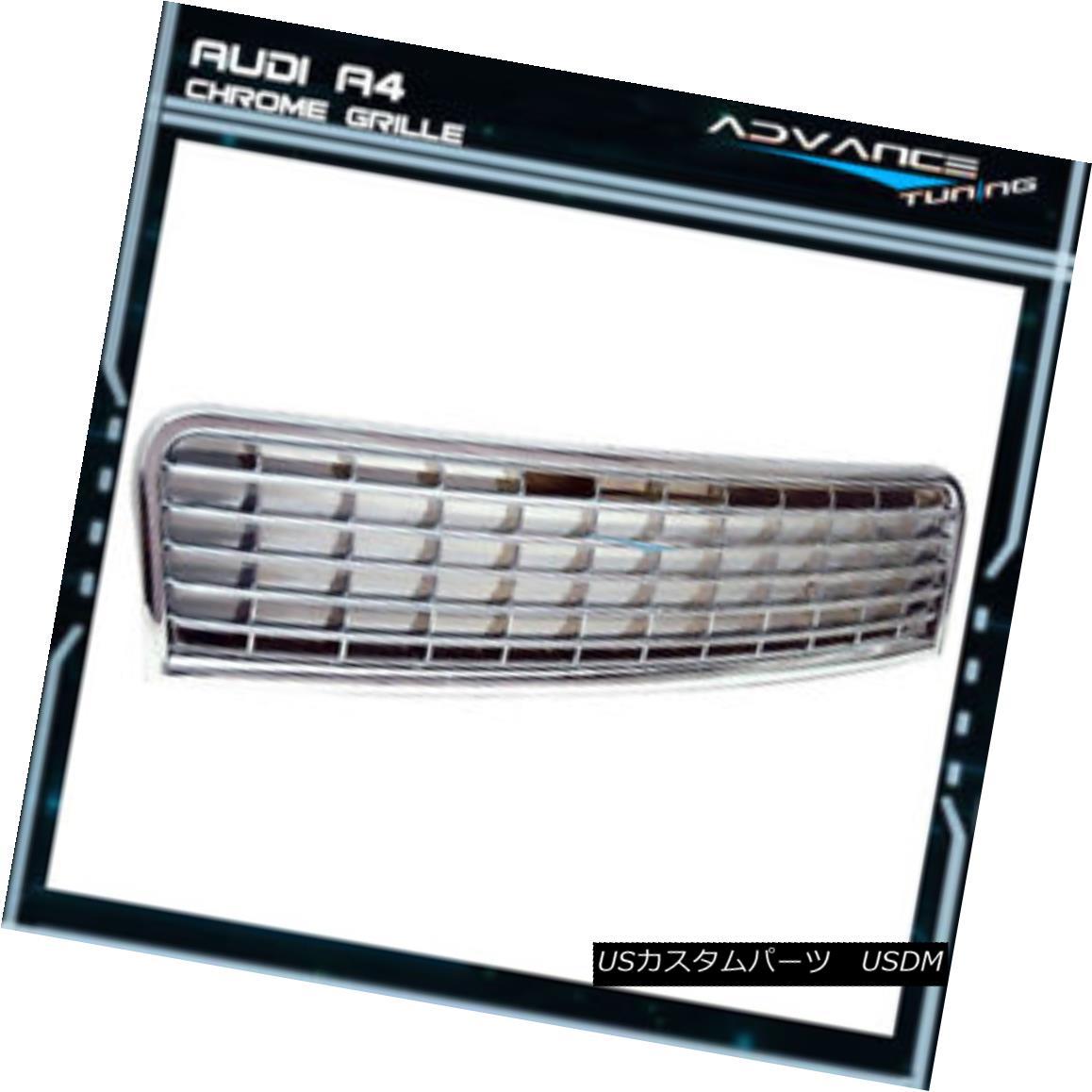グリル Fits 02-05 Audi A4 Front Chrome Grill Grille Mesh Brand New フィット02-05アウディA4フロントクロームグリルグリルメッシュブランドニュー