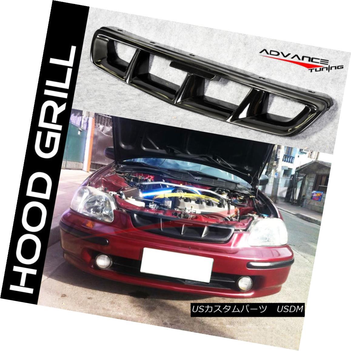 グリル Fits 96-98 Honda Civic ABS Front Hood Grille Grill JDM Mugen Style Black フィット96-98ホンダシビックABSフロントフードグリルグリルJDM Mugenスタイルブラック