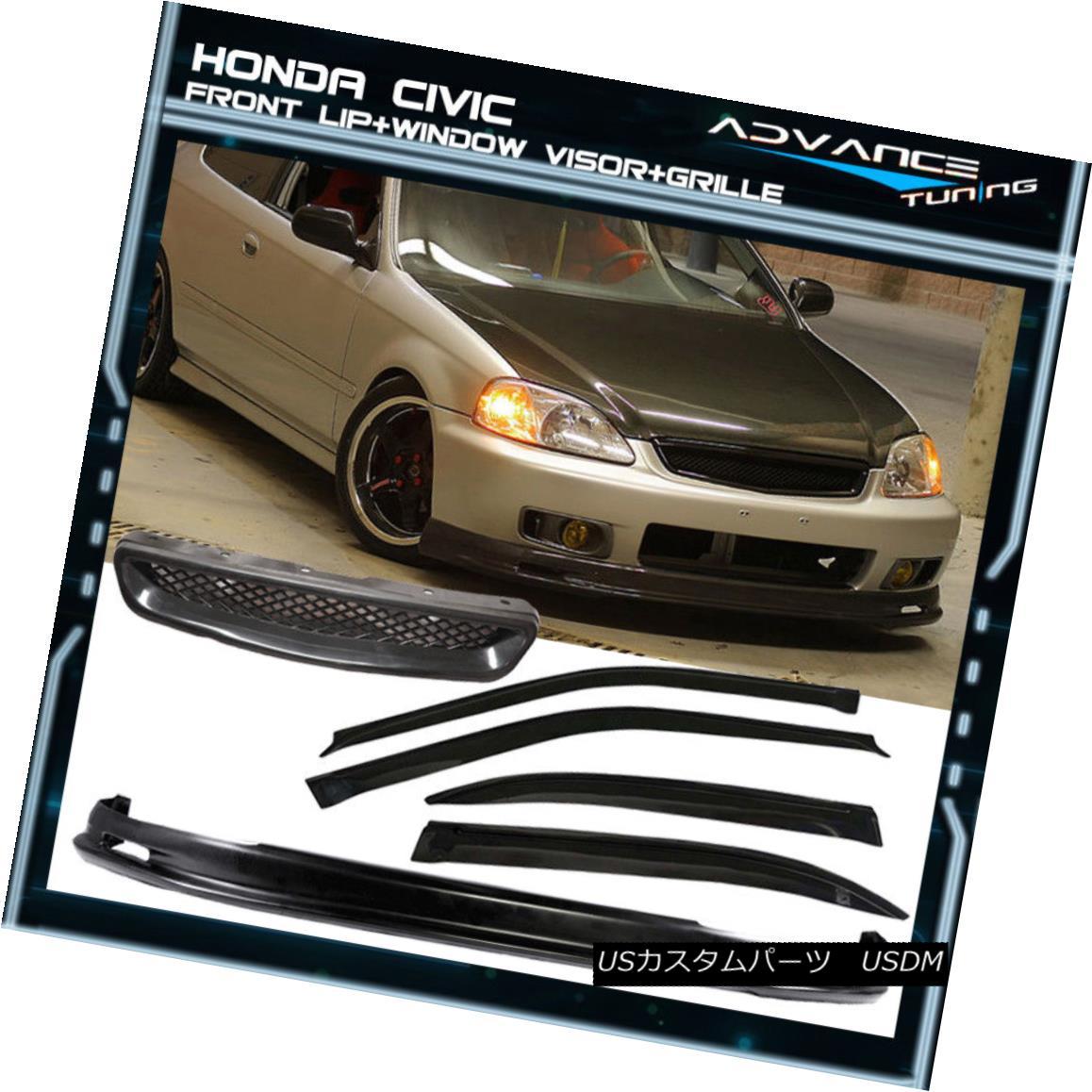 グリル For 99-00 Civic 4Dr Sedan Mugen Front Bumper Lip + Grille + Sun Window Visor 99-00シビック4Drセダンムゲンフロントバンパーリップ+グリル+サンウィンドウバイザー