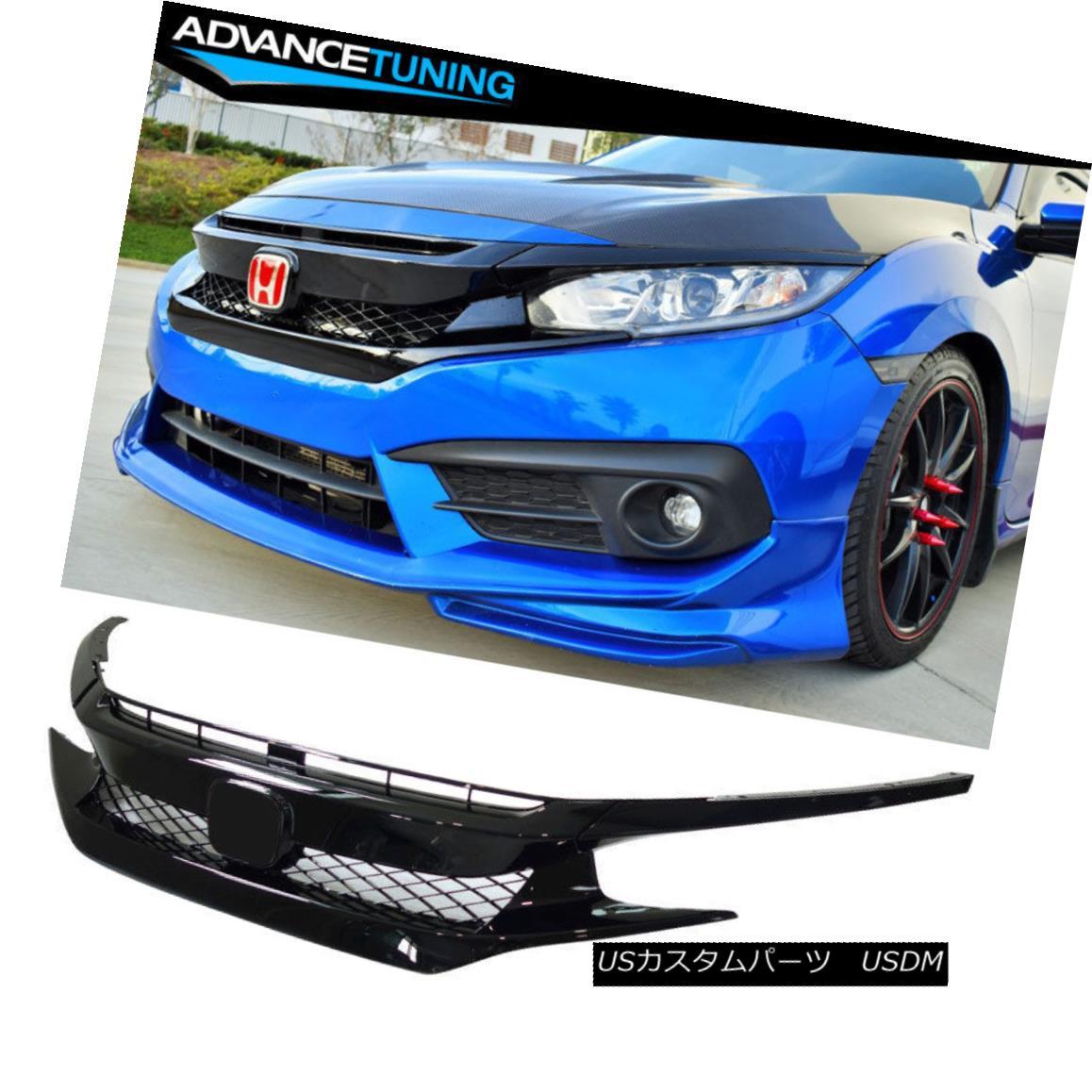 グリル For 16-18 Honda Civic FK8 Type-R ABS Front Bumper Grille Hood Mesh Grill Guards 16-18ホンダシビックFK8タイプ-R ABSフロントバンパーグリルフードメッシュグリルガード