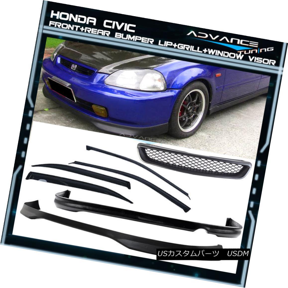グリル Fits 96-98 Honda Civic 4D Front Rear Bumper Lip + Grill + Sun Window Visor フィット96-98ホンダシビック4Dフロントリアバンパーリップ+グリル+サンバイザバイザー