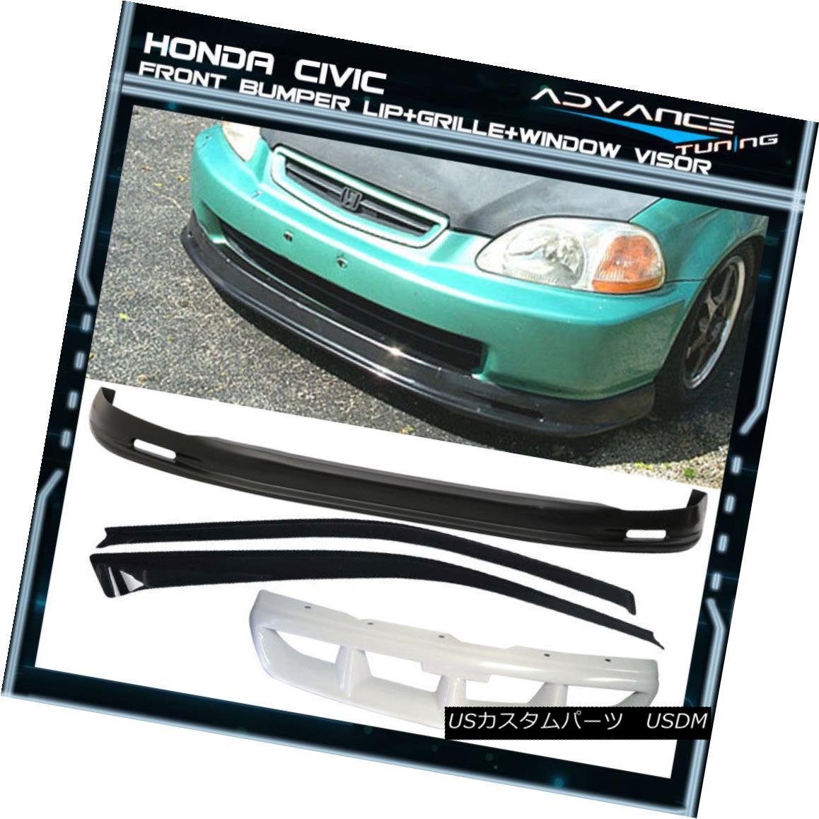 グリル Fits 96-98 Honda Civic 3Dr Mugen PP Front Bumper Lip + Sun Window Visor Ford 96-98 Honda Civic 3Dr Mugen PPフロントバンパーリップ+サンウィンドウバイザー