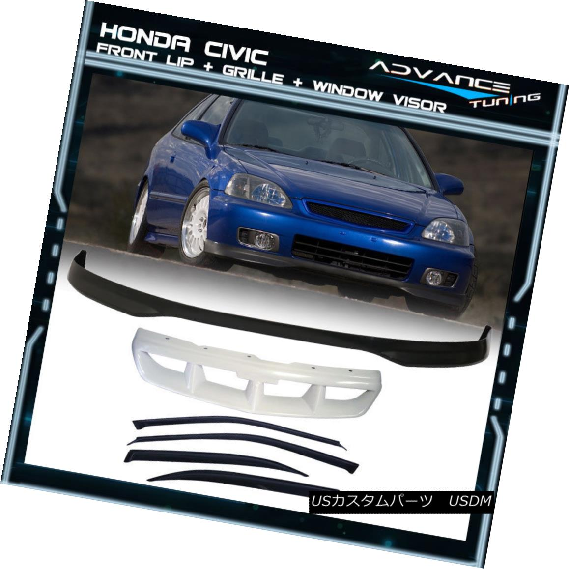 グリル Fits 96-98 Honda Civic 4Dr PP Front Bumper Lip + Grill + Sun Window Visor フィット96-98ホンダシビック4Dr PPフロントバンパーリップ+グリル+サンウィンドウバイザー