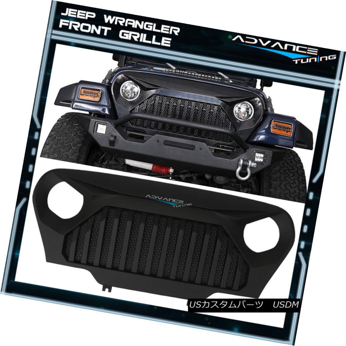 グリル For 97-06 Wrangler TJ Topfire Monster Front Hood Matte ABS Mesh Grill 97-06ラングラーTJトップファイアモンスターフロントフードマットABSメッシュグリル