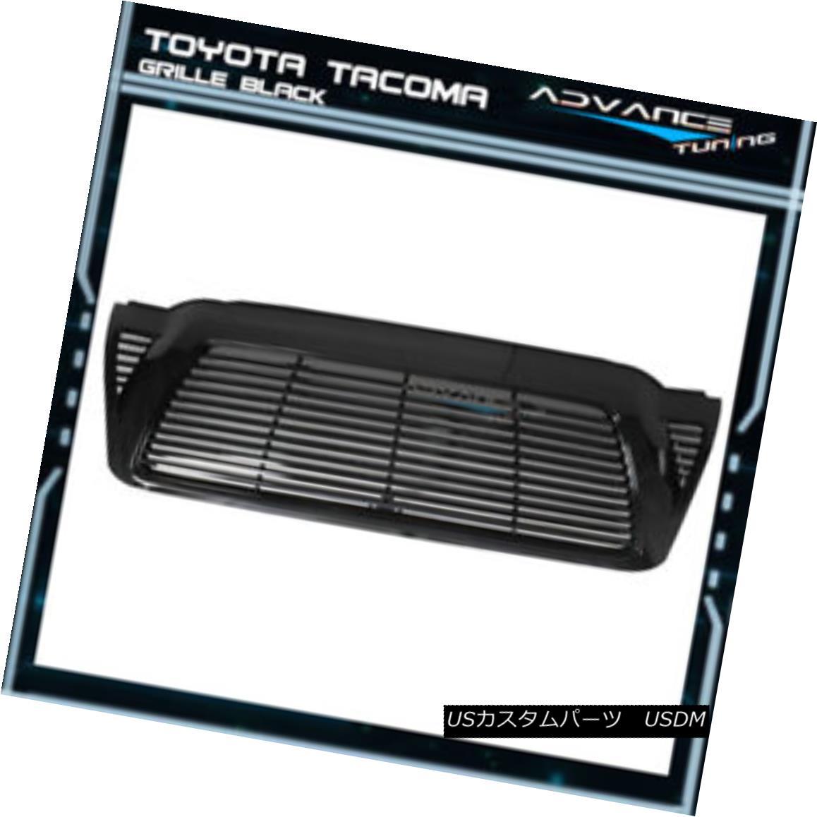 グリル For 05-11 Toyota Tacoma Front Hood Grill Grille Unpainted Black - ABS 05-11トヨタタコマフロントフードグリルグリル無塗装ブラック - ABS