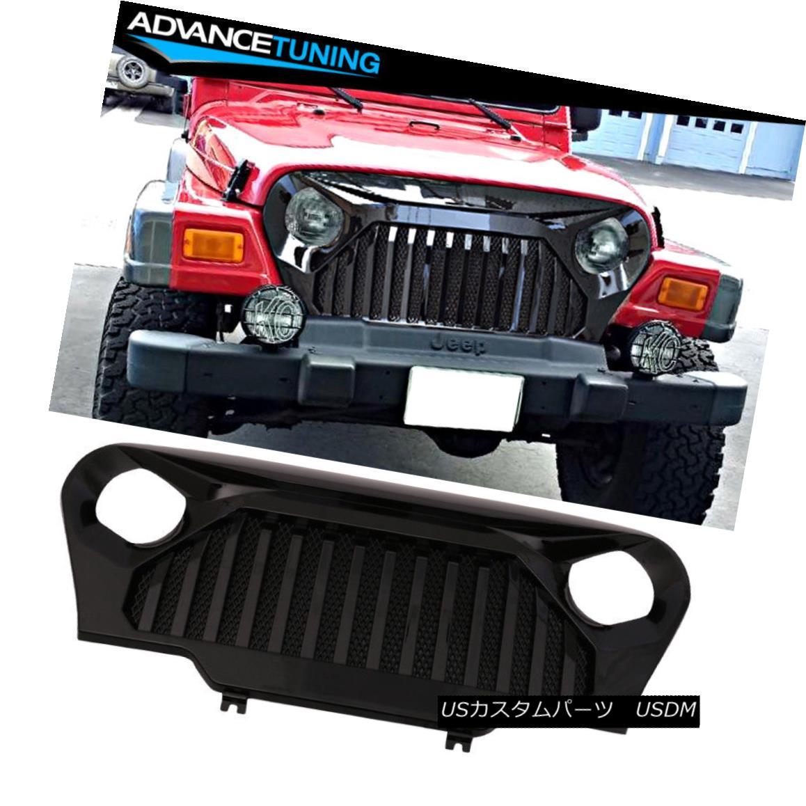 グリル Fits 97-06 Jeep Wrangler TJ V2 Top Fire Style Grille Glossy Black ABS Plastic フィット97-06ジープラングラーTJ V2トップファイアースタイルグリル光沢ブラックABSプラスチック