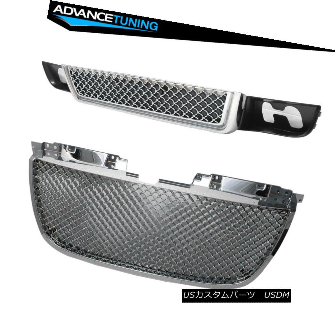 グリル For 07-13 GMC Yukon Denali Front Upper Grill & Lower Grille - ABS Chrome 07-13 GMCユーコンデナリフロントアッパーグリル& ロワーグリル - ABSクローム