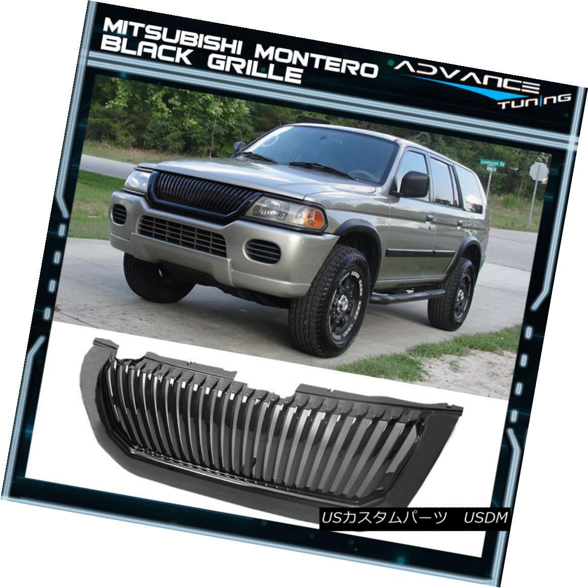 グリル Fits 00-04 Mitsubishi Montero Black VERTICAL Grille Brand New フィット00?04三菱モンテロブラックVERTICALグリルブランドニュー