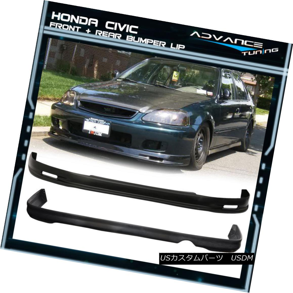 グリル Fits 99-00 Honda Civic EK 2 4Dr MG Front + Rear Bumper Lip Spoiler PP フィット99-00ホンダシビックEK 2 4Dr MGフロント+リアバンパーリップスポイラーPP
