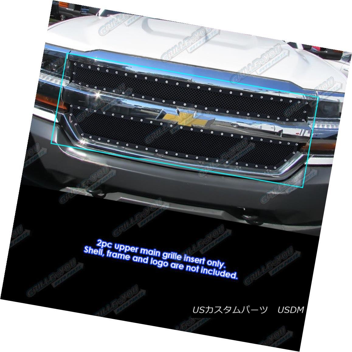 グリル Fits 2016-2017 Chevy Silverado 1500 Stainless Steel Black Rivet Mesh Grille フィット2016-2017シボレーシルバラード1500ステンレススチールブラックリベットメッシュグリル