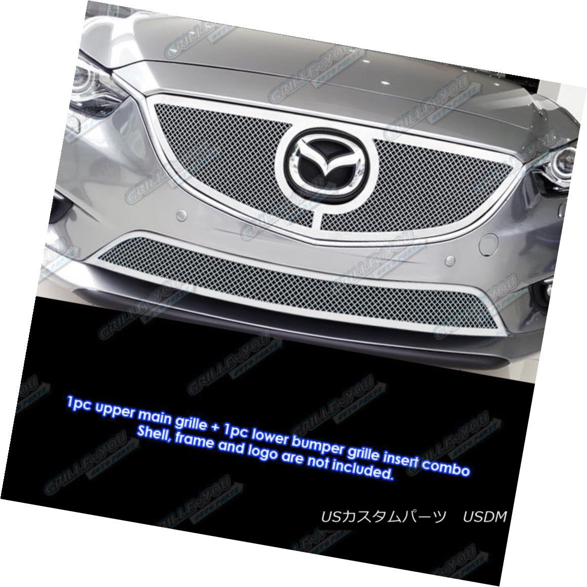 グリル Fits 2013-2015 Mazda 6 Stainless Steel Bolt Over Mesh Grille Combo 2013-2015 Mazda 6ステンレスボルトをメッシュグリルコンボにフィット