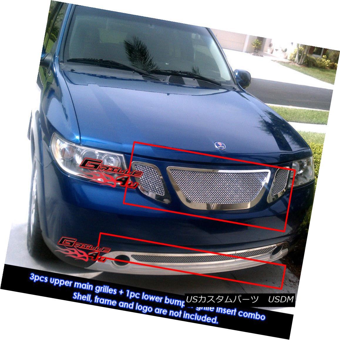 グリル Fits 2007-2010 Saab 9-7X Stainless Steel Mesh Grille Combo 2007年?2010年のSaab 9-7Xステンレスメッシュグリルコンボに適合