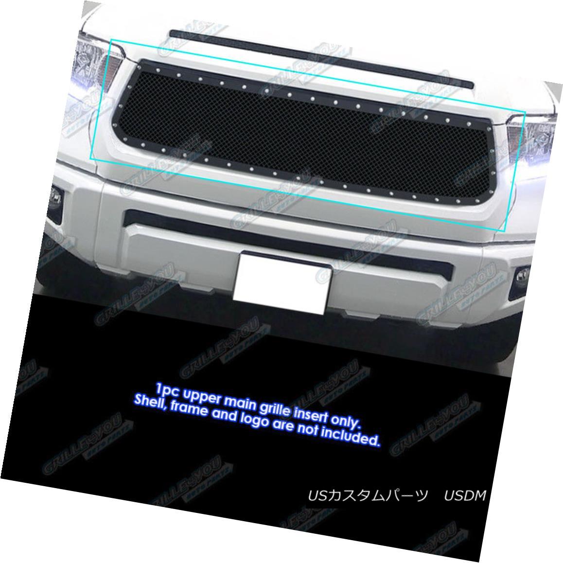 グリル Fits 2014-2018 Toyota Tundra Stainless Steel Black Rivet Mesh Grille フィット2014-2018トヨタトンドラステンレススチールブラックリベットメッシュグリル