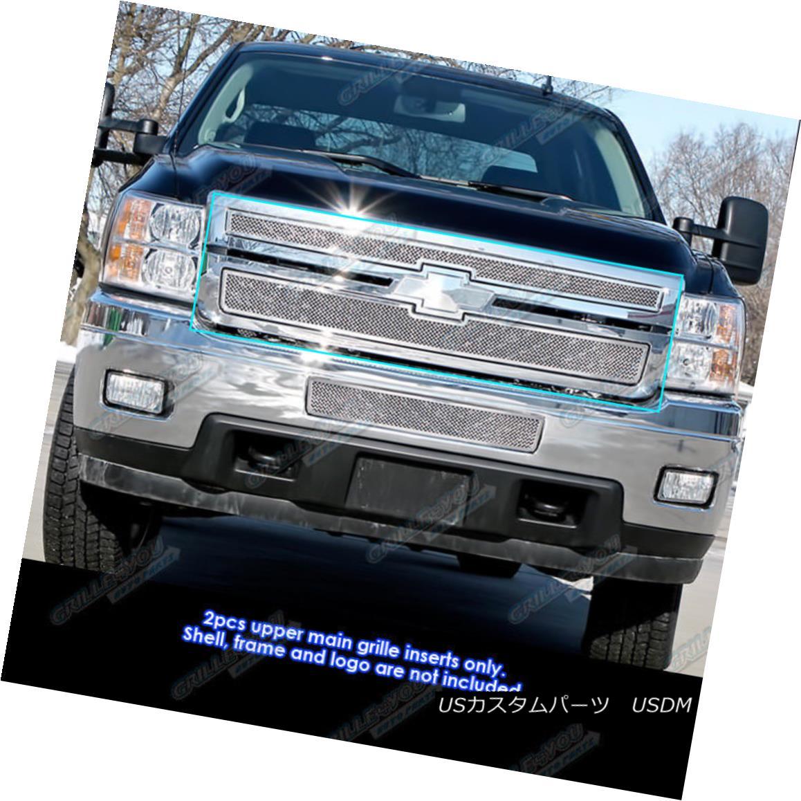 グリル 2011-2014 Chevy Silverado 2500HD/3500HD Stainless Steel Mesh Grille Grill Insert 2011-2014シボレーシルバラード2500HD / 3500HDステンレスメッシュグリルグリルインサート