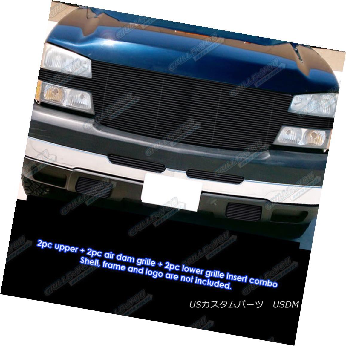 グリル Fits 2005-2006 Chevy Silverado 2500/3500 Full Face Black Billet Grille Combo フィット2005-2006シボレーシルバラード2500/3500フルフェイスブラックビレットグリルコンボ