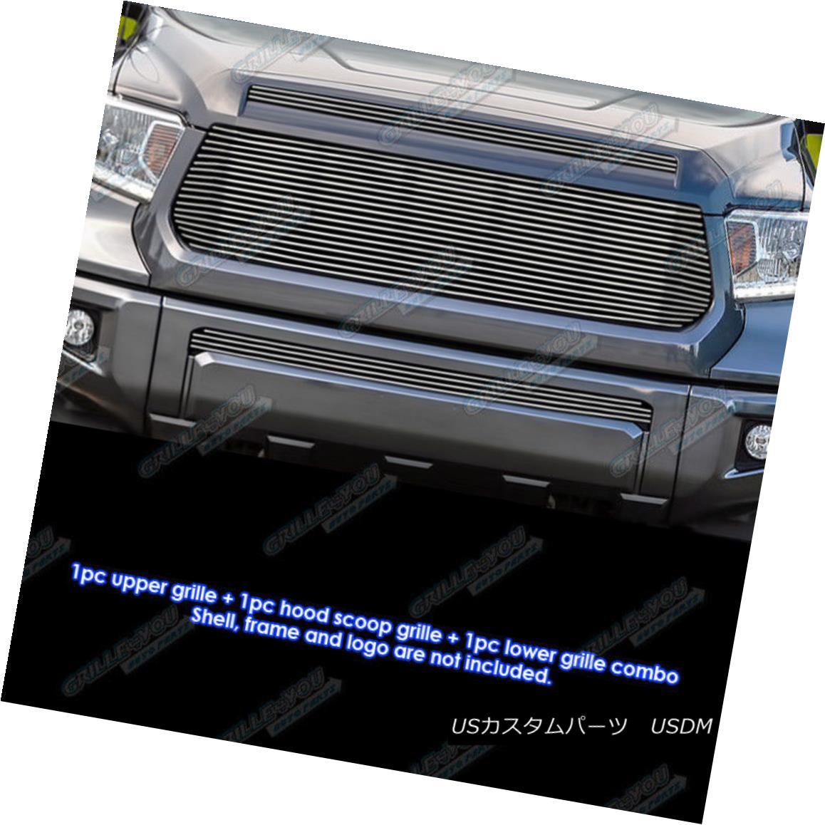 グリル Fits 2014-2015 Toyota Tundra Replacement Style Billet Grille Combo フィット2014-2015トヨタトンドラ交換スタイルビレットグリルコンボ