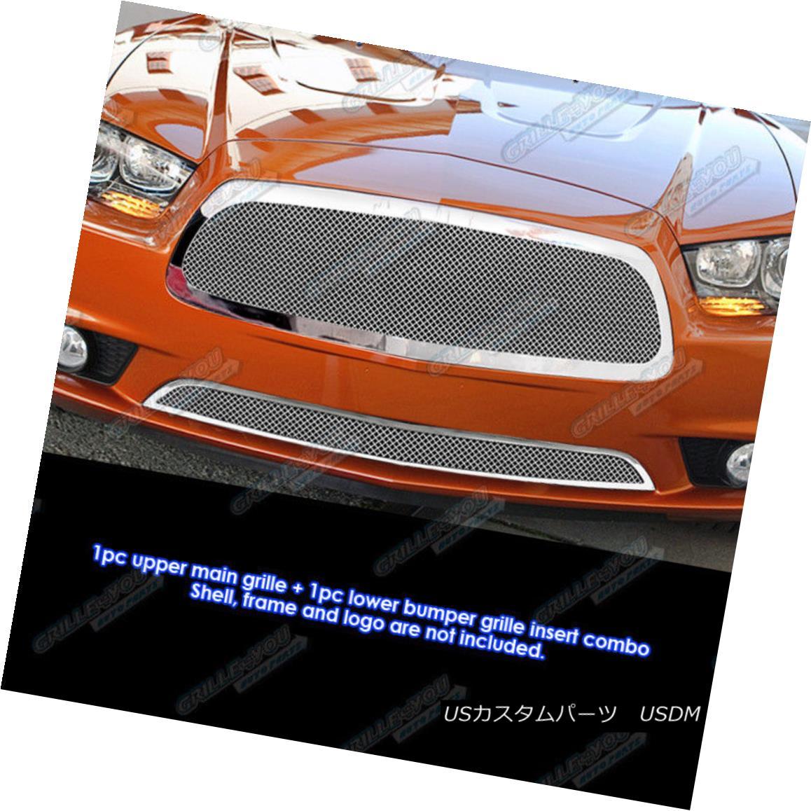 グリル Fits 2011-2014 Dodge Charger Stainless Steel Mesh Grille Grill Insert Combo フィット2011-2014ダッジチャージャーステンレスメッシュグリルグリルインサートコンボ