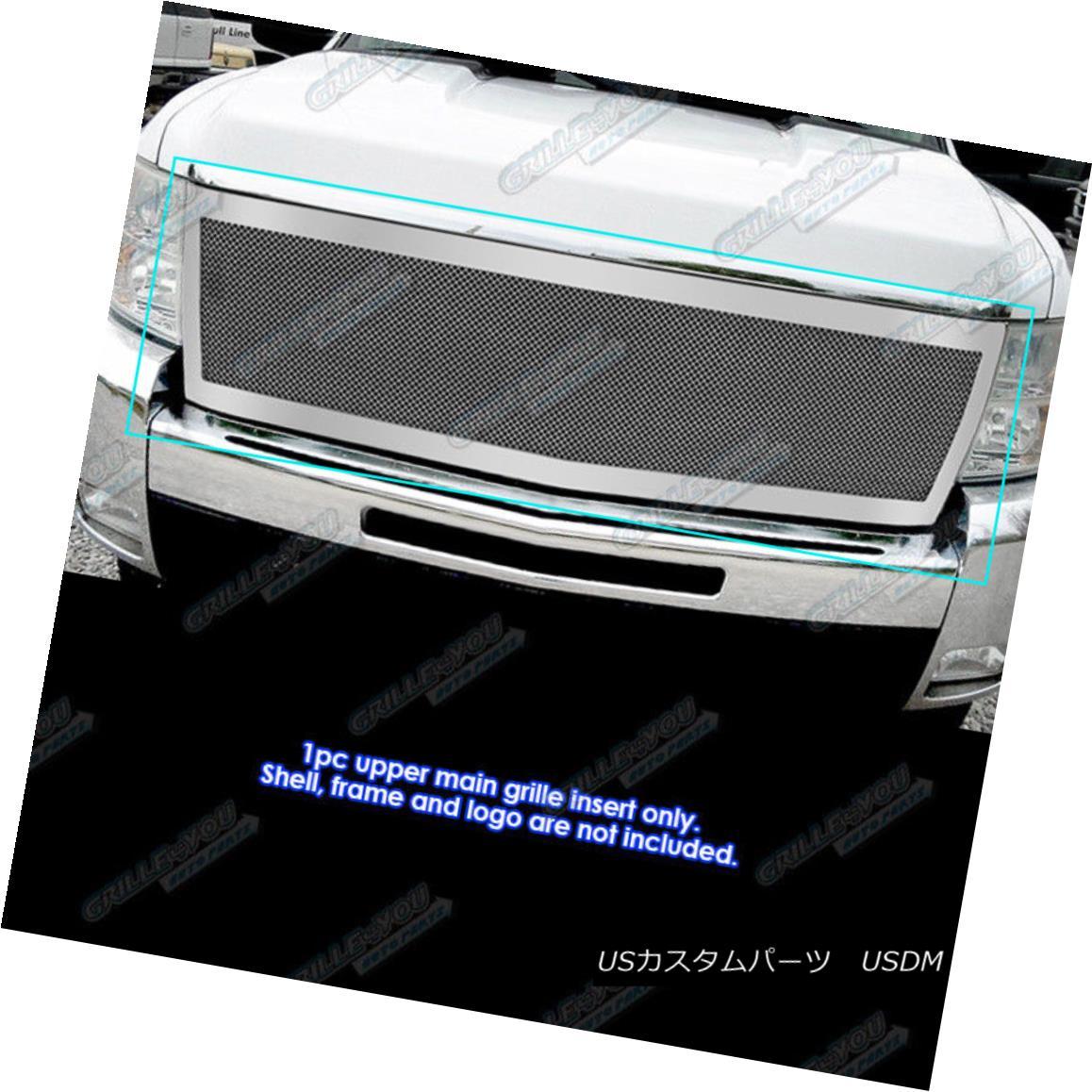 グリル Fits 2007-2010 Chevy Silverado 2500/3500 Stainless Mesh Grille フィット2007-2010シボレーシルバラード2500/3500ステンレスメッシュグリル