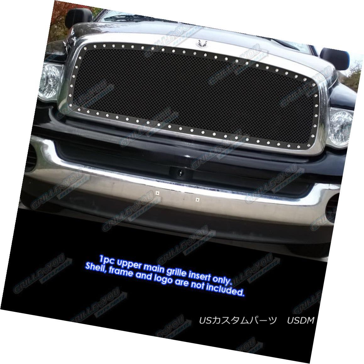 グリル Fits 2002-2005 Dodge Ram Black Stainless Steel Mesh Grille Grill Insert フィット2002-2005ダッジラムブラックステンレスメッシュグリルグリルインサート