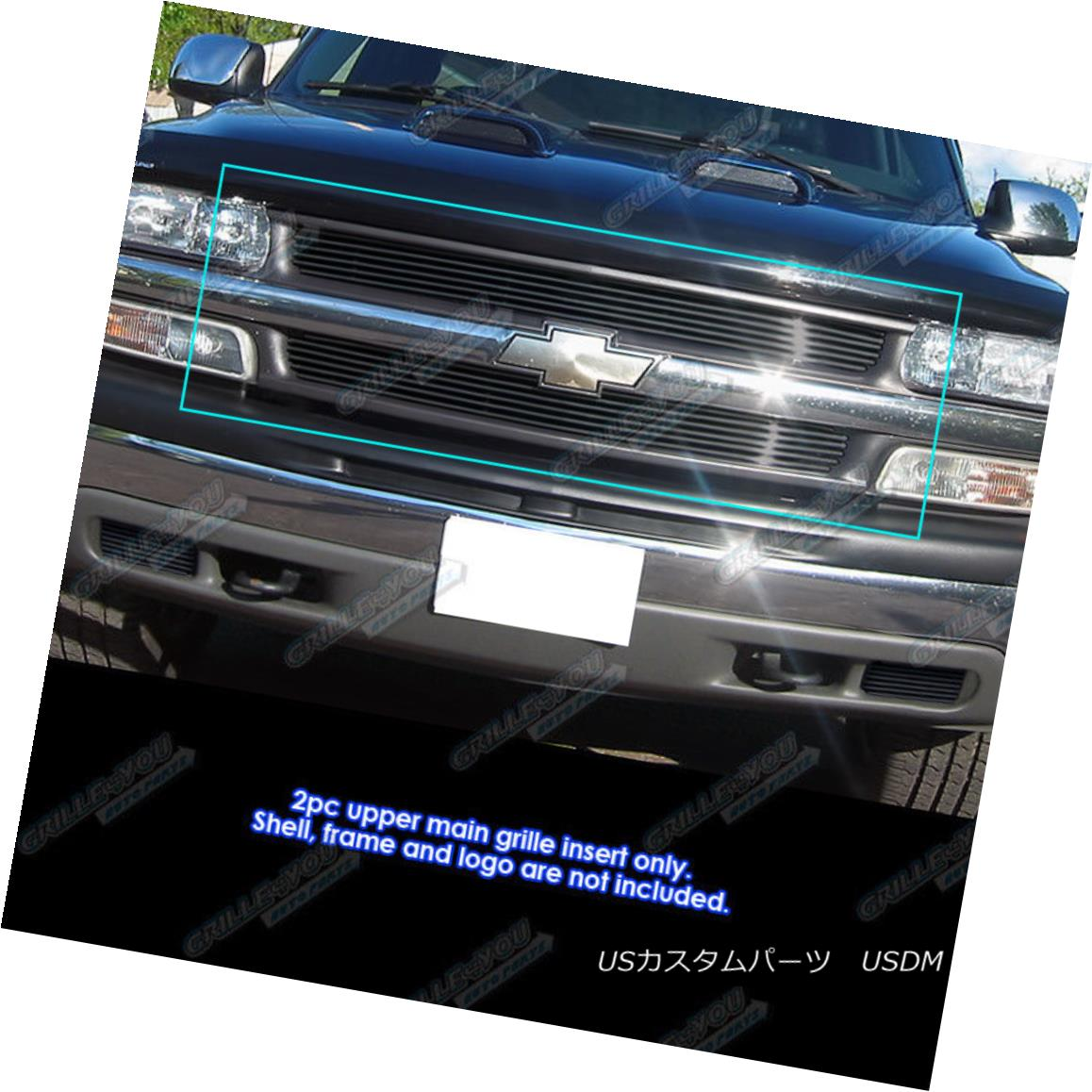 グリル Custom Fits Chevy Silverado 1500/00-06 Suburban/Tahoe Black Billet Grill カスタムフィットChevy Silverado 1500 / 00-06郊外/タホブラックビレットグリル