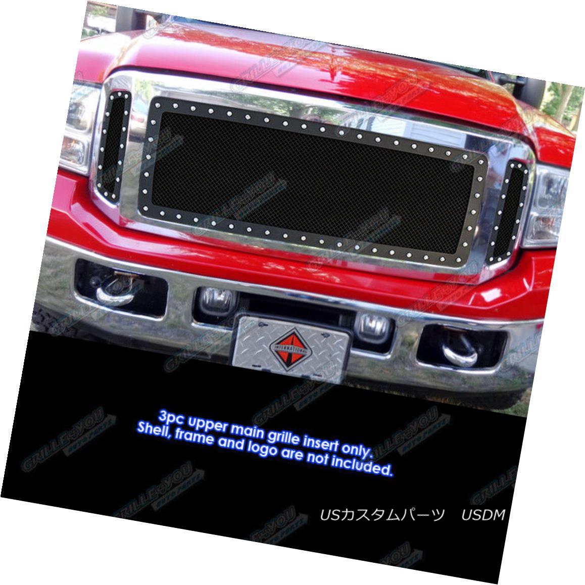 グリル For 2005-2007 Ford Excursion F250/ F350 Stainless Black Rivet Studs Mesh Grille 2005-2007 Ford Excursion F250 / F350用ステンレスブラックリベットスタッドメッシュグリル