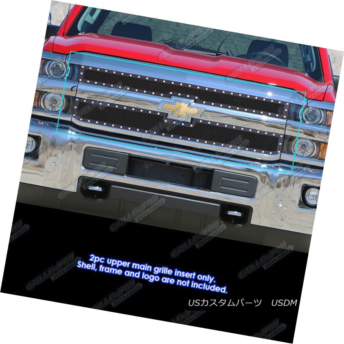 グリル For 2015-2017 Chevy Silverado 2500HD/ 3500HD Stainless Black Mesh Rivet Grille 2015-2017 Chevy Silverado 2500HD / 3500HDステンレスブラックメッシュリベットグリル