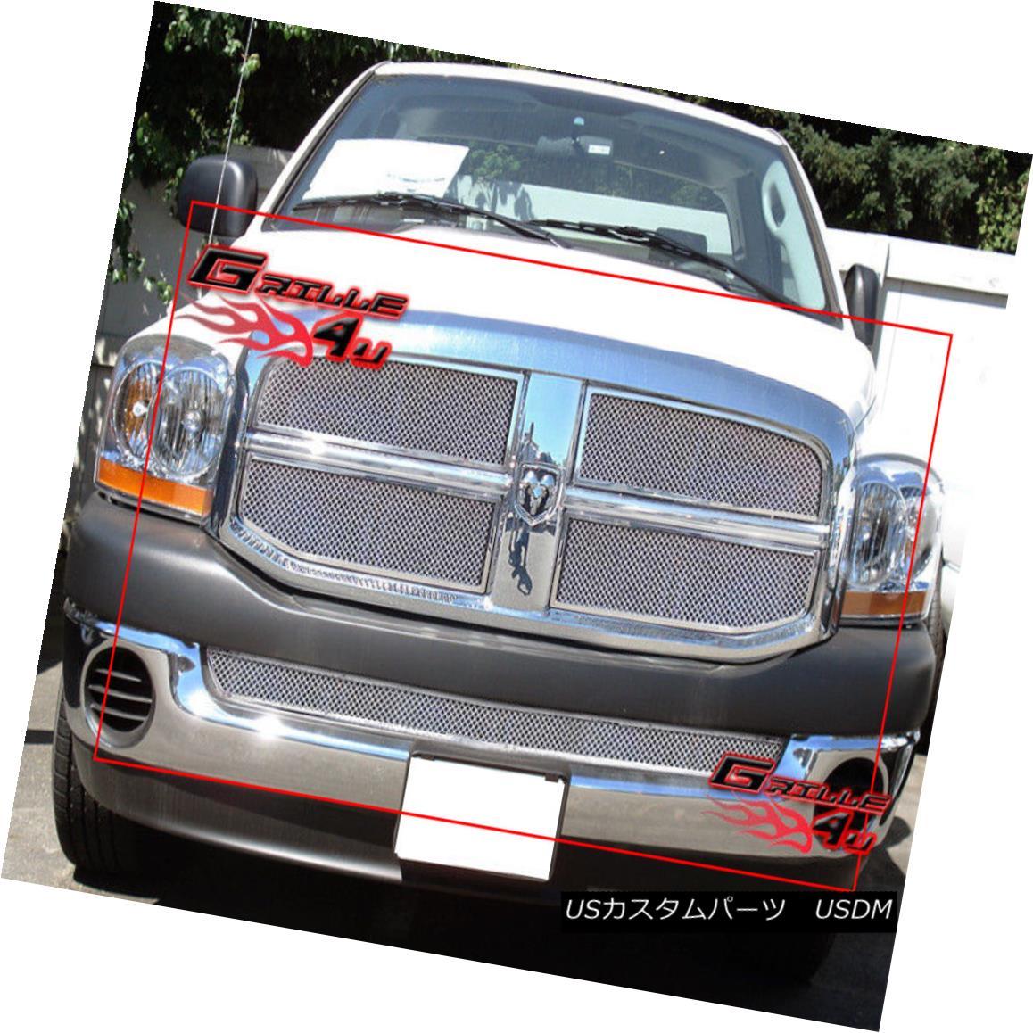 グリル Fits 2006-2008 Dodge Ram Stainless Steel Mesh Grille Combo 2006-2008 Dodge Ramステンレスメッシュグリルコンボに適合