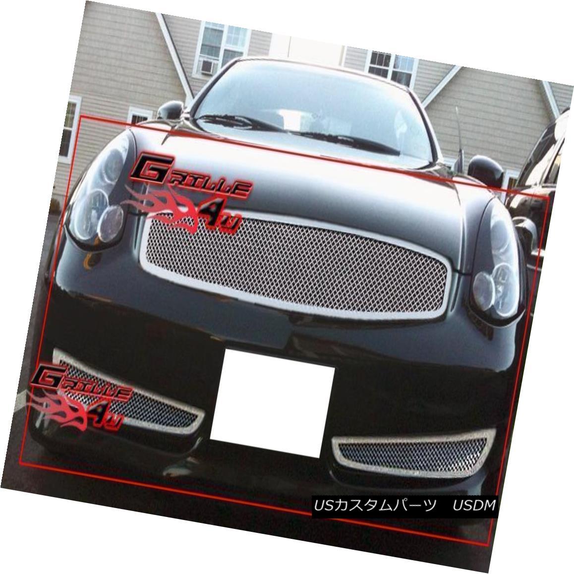 グリル Fits 2006-2007 Infiniti G35 Coupe Sport Mesh Grille Combo フィット2006-2007インフィニティG35クーペスポーツメッシュグリルコンボ