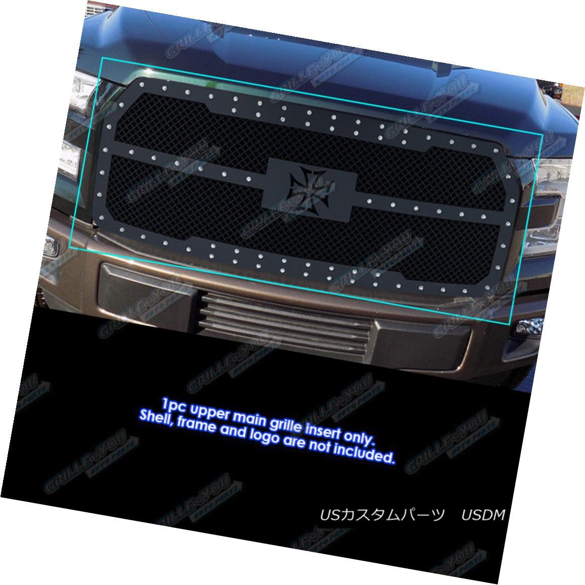 グリル Fits 2015-2017 Ford F-150 Stainless Steel Black Mesh Rivet Studs Grille Insert フィット2015-2017フォードF-150ステンレススチールブラックメッシュリベットスタッズグリルインサート