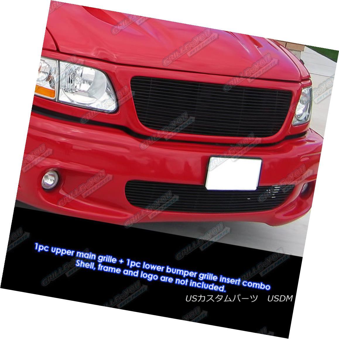 グリル Fits 99-03 Ford F-150 Lightning Black Billet Grille Combo フィット99 - 03フォードF - 150ライトニングブラックビレットグリルコンボ