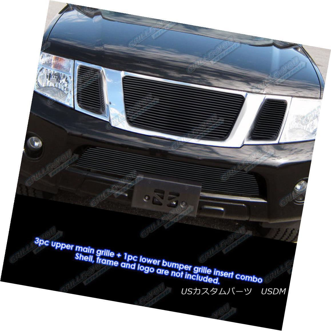 グリル Fits 2008-2012 Nissan Pathfinder Black Billet Grille Grill Insert Combo フィット2008-2012日産パスファインダーブラックビレットグリルグリルインサートコンボ