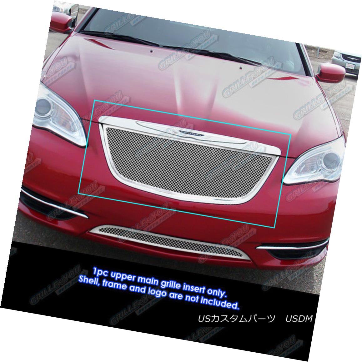 グリル Fits 2011-2014 Chrysler 200 Stainless Steel Mesh Grille Grill Insert 適合2011-2014クライスラー200ステンレスメッシュグリルグリルインサート