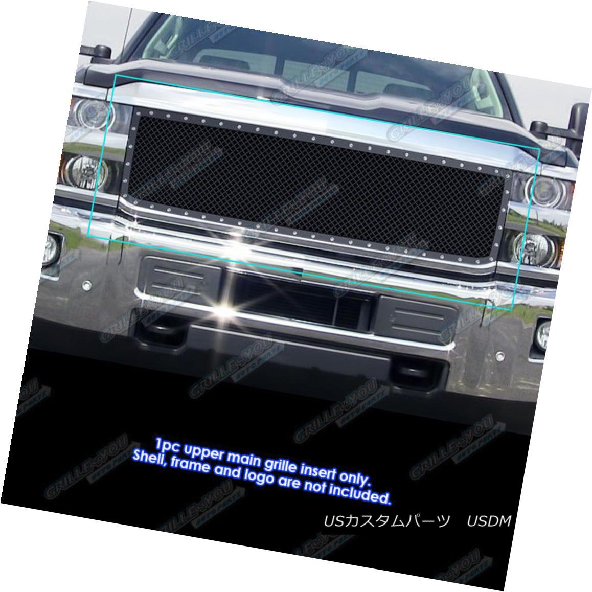 グリル Fits 2015-2017 Chevy Silverado 2500HD/ 3500HD Steel Black Mesh Rivet Studs Grile フィット2015-2017シェビーSilverado 2500HD / 3500HDスチールブラックメッシュリベットスタッドGrile