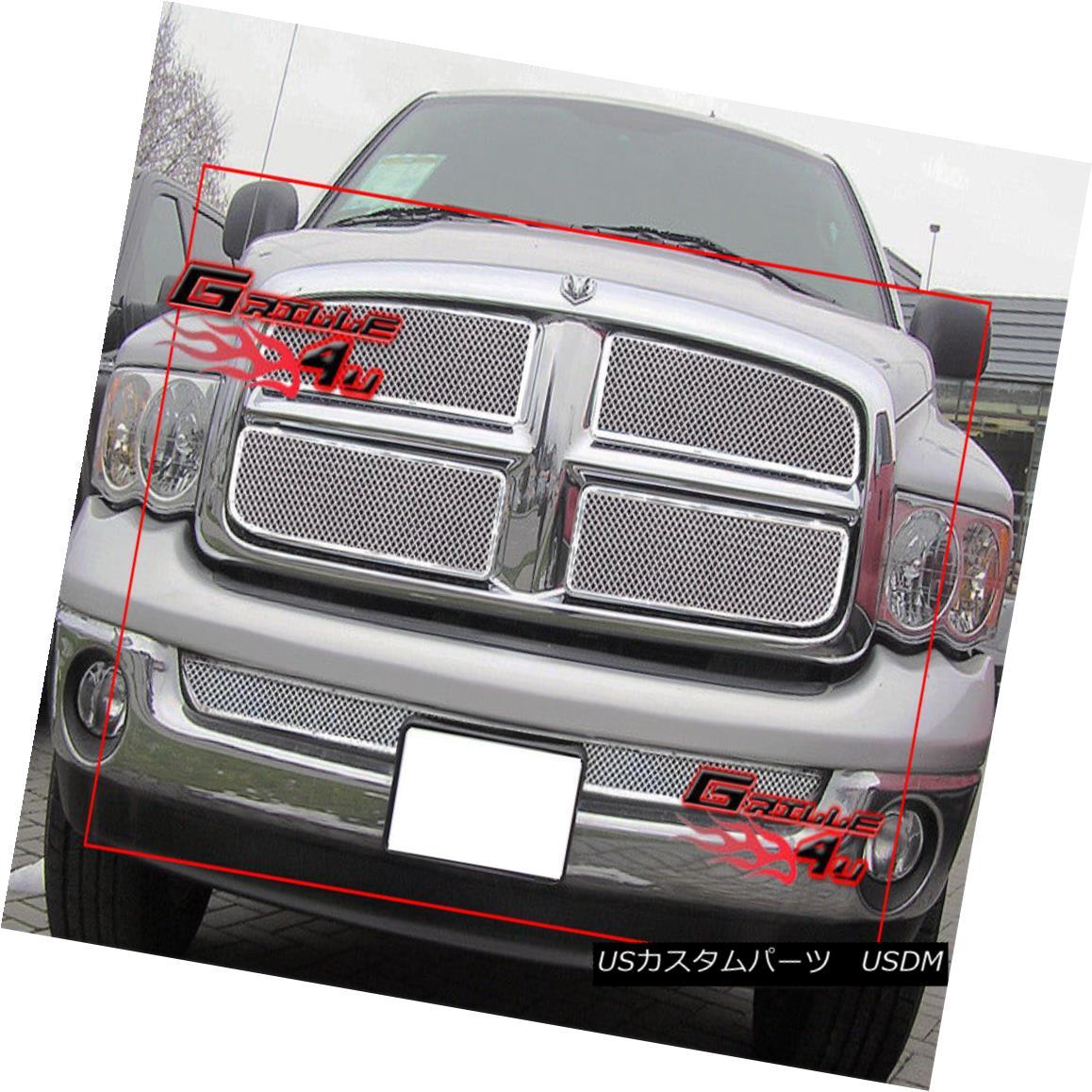 グリル Fits 2002-2005 Dodge Ram Stainless Steel Mesh Grille Combo 2002-2005 Dodge Ramステンレスメッシュグリルコンボに適合