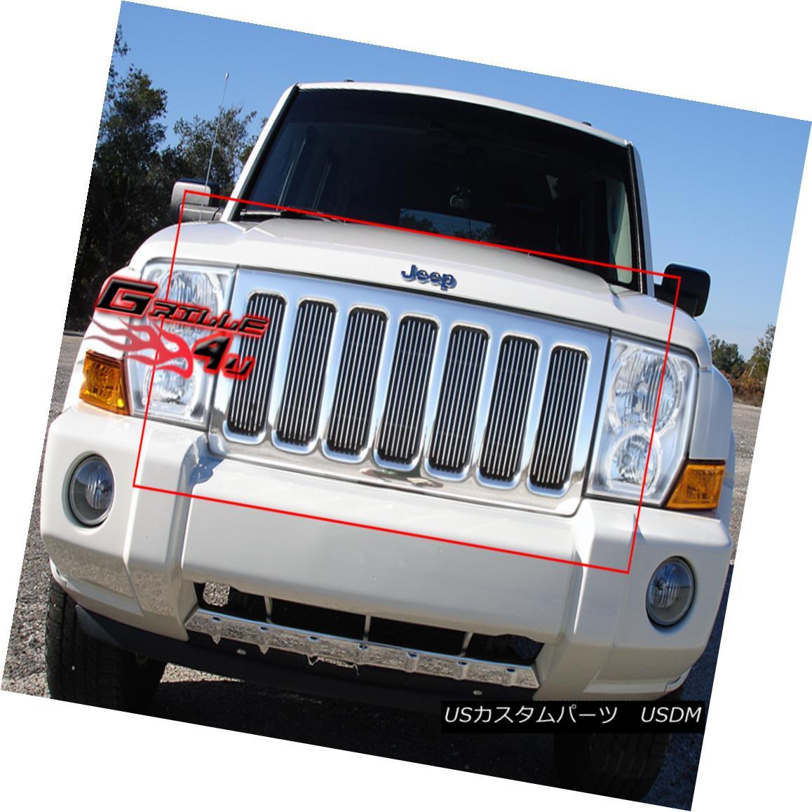 グリル Fits 2006-2010 Jeep Commander Vertical Billet Grille Insert フィット2006年から1010ジープコマンダー垂直ビレットグリルの挿入