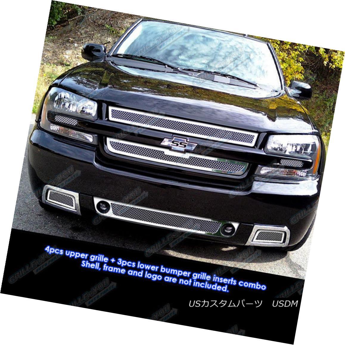 グリル Fits 2006-2009 Chevy Trailblazer SS Mesh Grille Combo Insert フィット2006-2009シボレートレイルブレイザーSSメッシュグリルコンボインサート