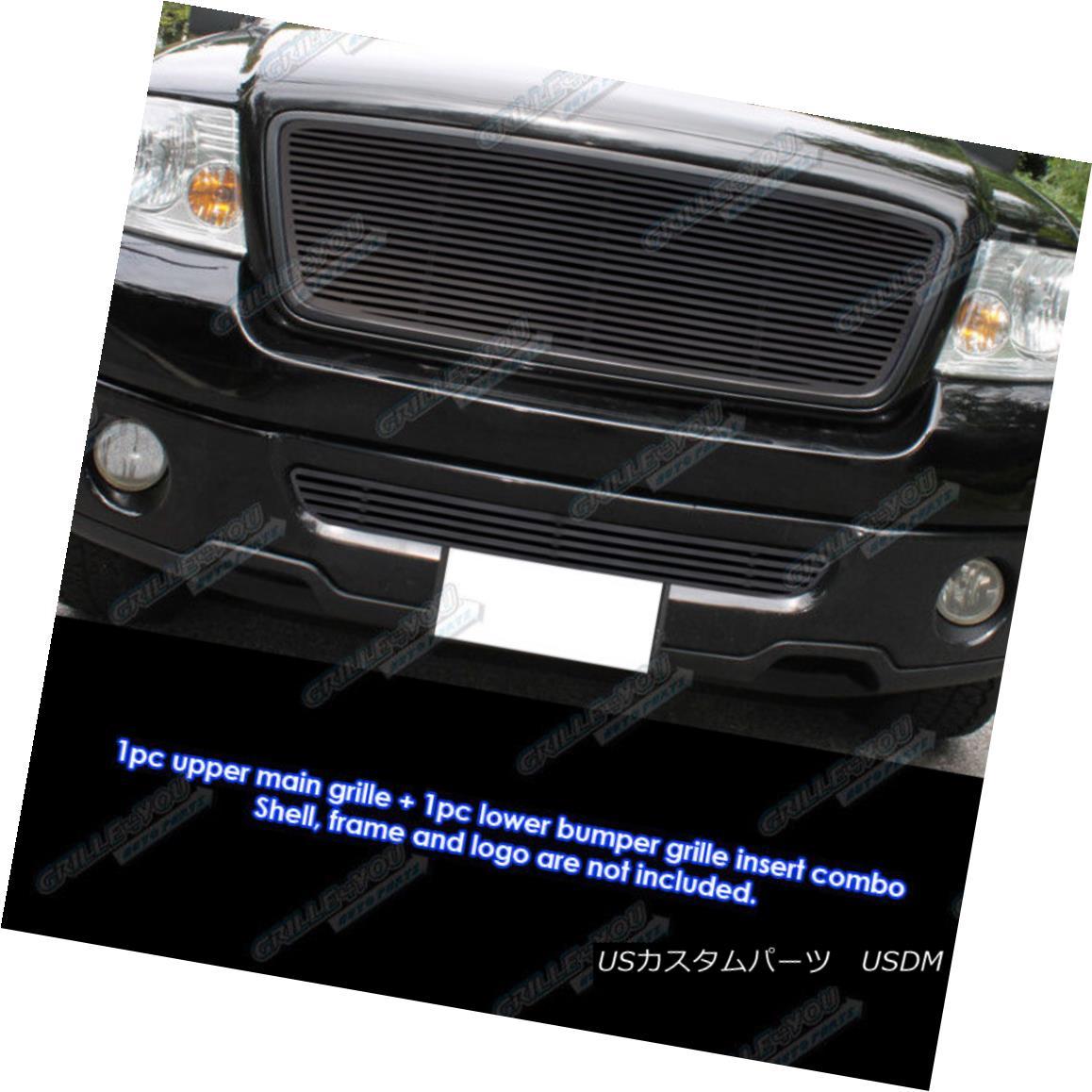 グリル Fits 2006-2008 Ford F-150 Honeycomb Style Black Perimeter Grille Combo フィット2006-2008フォードF - 150ハニカムスタイルブラック周辺グリルコンボ